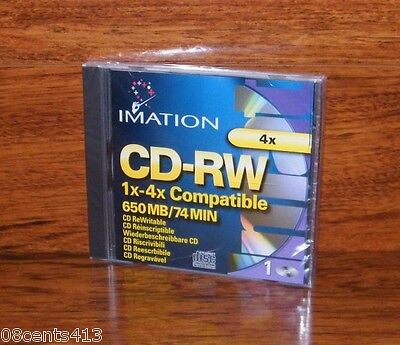 Imation 1X-4X Compatible 650 MB / 74 MIN CD-RW CD ReWritable **Brand New**