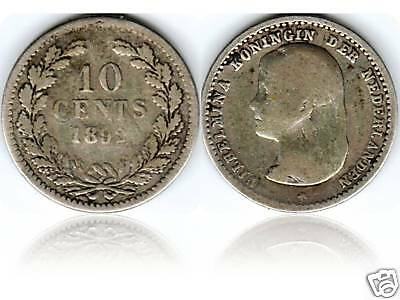 NETHERLANDS HOLLAND 10 CENTS 1892 SILVER