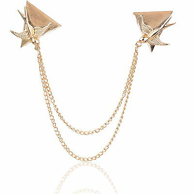 Vintage Statement Dove Triangle Gold Tone Chain Bird Coat Clip Collar Bar