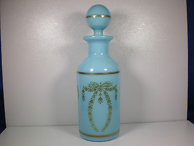 Antique French Opaque BLUE GLASS cologne/perfume bottle Handpainted