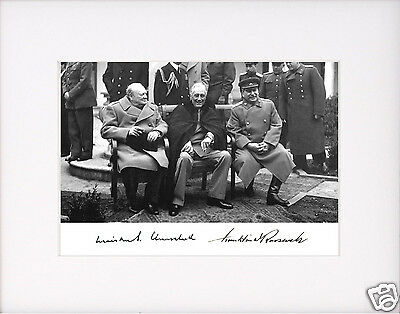 President Franklin Roosevelt FDR Churchill Autograph WWII  Large Matted Photo