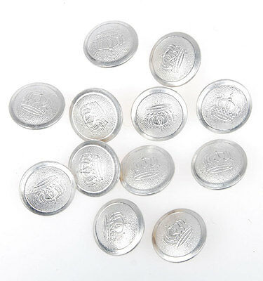 12 Pcs Wwi German Officer Imperial Crown Tunic Button Silver 21Mm-33530