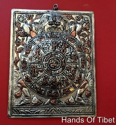 Hand crafted silver plate copper wheel of life wall hanging