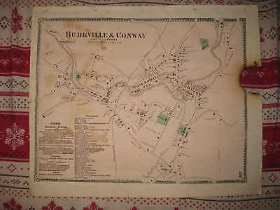 Antique 1871 Conway Burkville City Franklin County Massachusetts Handcolor Map N