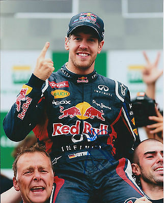 Sebastian Vettel SIGNED AUTOGRAPH World Champion RARE 10x8 Photo AFTAL COA