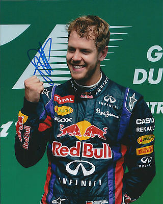 Sebastian Vettel SIGNED AUTOGRAPH World Champion Genuine 10x8 Photo AFTAL COA