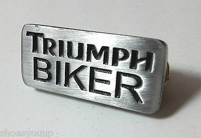 Triumph Biker Motorcycle Hand Made in the UK Pewter Lapel Pin Badge