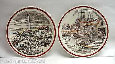 """Pair (2) Vernon Kilns Pottery """"bits Of Old New England"""" Plates - Lighthouse"""