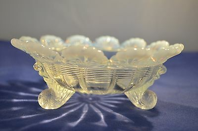 "EAPG White Opalescent ""Fluted Scrolls""  Round Footed  Small Bowl"