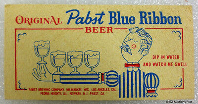 Vintage Pabst Blue Ribbon Advertising Sponge Dip In Water & Watch Me Swell Up