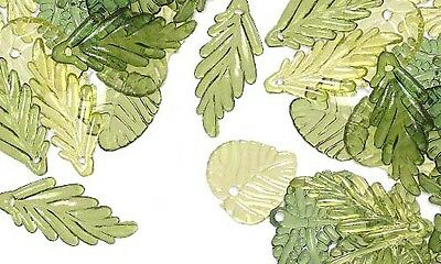 Huge Lot of 250 Mix of Clear Dark & Light Green Plastic Acrylic Leaf Charm Beads