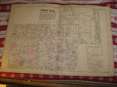 Huge Antique 1902 Gates Lincoln Park Monroe County New York Handcolored Map Nr