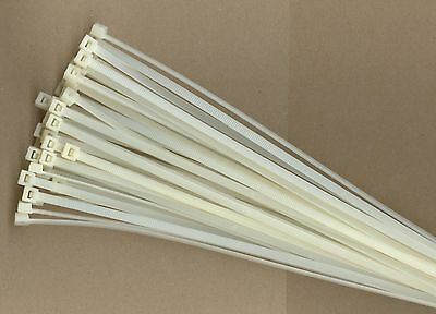 """100 14/"""" Inch Long 120# Pound NATURAL WHITE Nylon Cable Zip Ties Wraps MADE USA"""