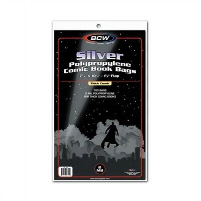 Case / 1000 BCW Silver Comic Book Poly Bags - THICK 7.25x10.5 Acid Free sleeves