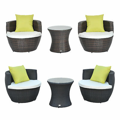 3PC Rattan Home Furniture Set Patio Garden Vase Chair Coffee Table Stackable