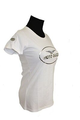 Moto Guzzi Damen T-Shirt Kurzarm Shirt Top * Original * weiss