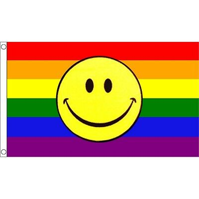 Rainbow Smiley Face Gay Pride March 5Ft X 3Ft Flag With Metal Eyelets