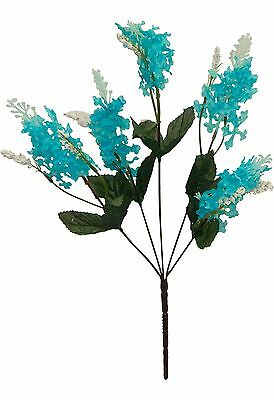 5 LILAC BLOOMS ~ TURQUOISE TEAL AQUA Silk Wedding Flowers Bouquets Centerpieces
