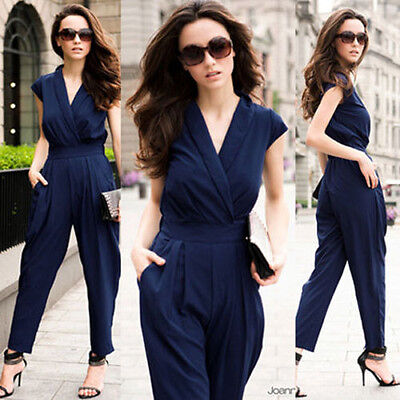Stylish Women V-neck Overall Romper Jumpsuit Casual high Waist Pants Trousers
