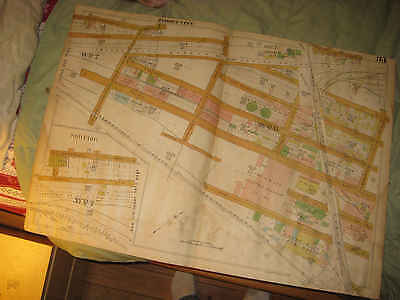 Huge Antique 1928 Jersey City New Jersey Map Ward 6 7 Huge Iron Works Industry N