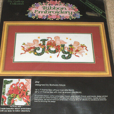 "Bucilla / Barbara Mock Christmas Angels ""Joy"" Ribbon Embroidery Kit NIP 16x7"""