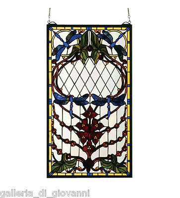 Dragonflies Dance  Stained Glass Tiffany Style Window