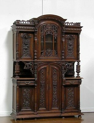 CC001 : LARGE ANTIQUE FRENCH RENAISSANCE CARVED CABINET BUFFET SIDEBOARD