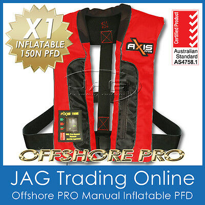 "AXIS OFFSHORE ""PRO"" RED MANUAL INFLATABLE PFD1 LIFEJACKET 150N Life Jacket/Vest"