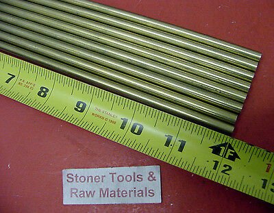 """12 Pieces of 1/4"""" C360 BRASS SOLID ROUND ROD 12"""" long .250"""" Lathe Bar Stock"""