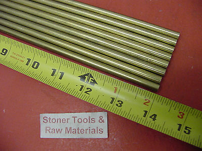 """8 Pieces of 1/4"""" C360 BRASS SOLID ROUND ROD 14"""" long .250"""" Lathe Bar Stock"""