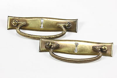 Lot of 2 Vintage Brass Keyhole Drawer Pulls Antique Hardware