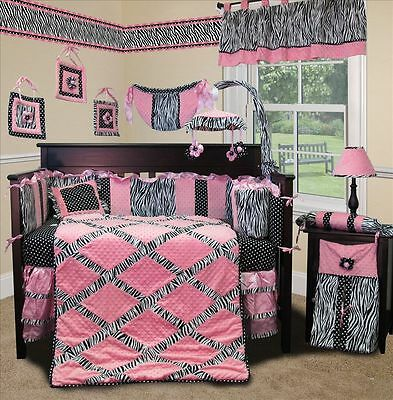 Baby Boutique - Pink Minky Zebra - 14 pcs Crib Nursery Bedding incl. Lamp Shade