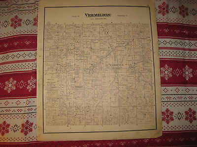 Antique 1874 Vermillion Township Hayesville Ashland County Ohio Handcolored Map