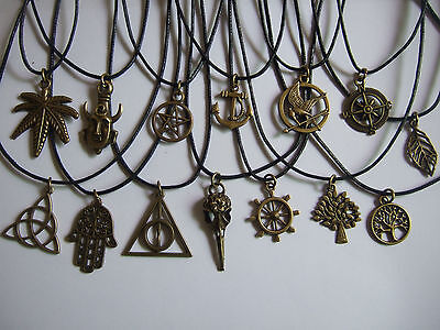 Black Wax Cord with Vintage Bronze Charm Pendant Necklace, pagan, wiccan