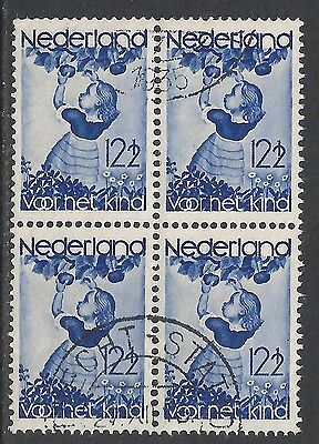 Netherlands 1935 NVPH Plate Error 282P Bloc of 4  CANC  VF