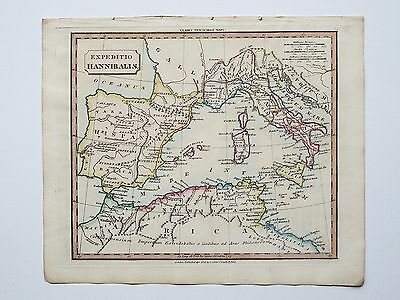 c1830 HANNIBAL'S CAMPAIGN GENUINE HAND COLOURED MAP PUBLISHED BY J. SOUTER