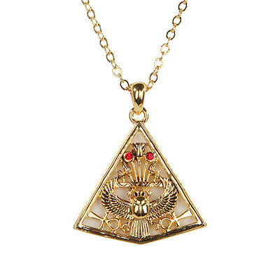 Egyptian Egypt Pyramid Open Winged Scarab Necklace Pendant Fashion Jewelry. New