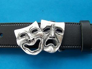 Comedy and Tragedy Theatre Masks Pewter Belt Buckle Hand Made From Pewter