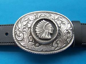 Indian Chief Rodeo Pewter Belt Buckle Hand Made From Pewter in the UK