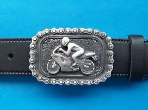 Racing Biker Motorcycle Pewter Belt Buckle Hand Made From Pewter in the UK