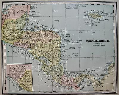 1889 Vintage Map of CENTRAL AMERICA with JAMAICA