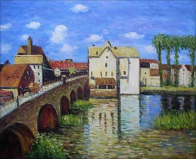 Hand Painted Oil Painting Repro Alfred Sisley Bridge of Moret 20x24in