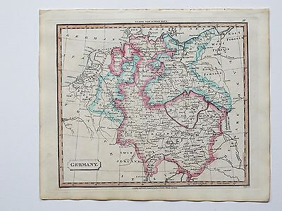 c1830 GERMANY GENUINE HAND COLOURED MAP PUBLISHED BY J. SOUTER