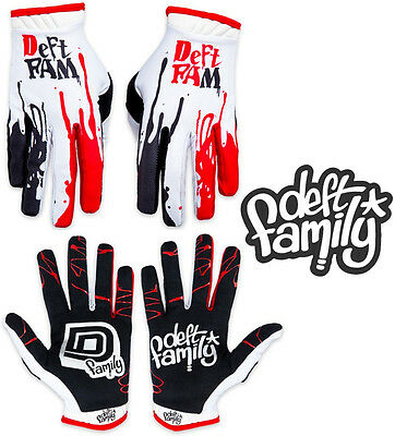 Deft Family Motocross MX Gloves Artisan Dipped White Red All Sizes bmx mtb bike