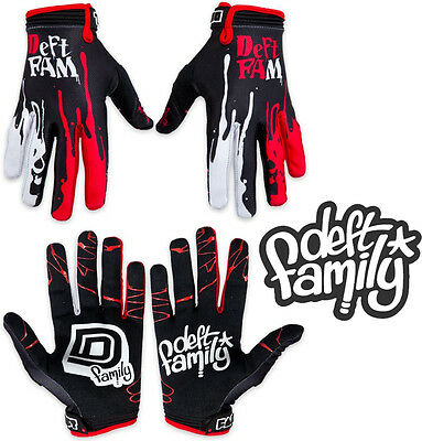 Deft Family Motocross MX Gloves Catalyst 2 Dipped Black Red All Sizes bmx mtb