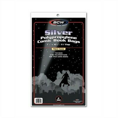 200 BCW NON-RESEAL Silver THICK Comic Book Poly Bags +Acid Free Backer Boards