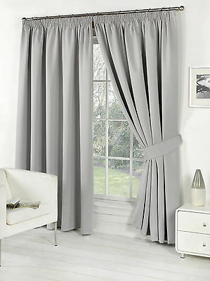 Silver Grey Supersoft  BLACKOUT Thermal Curtains in PENCIL PLEAT + Free Tiebacks