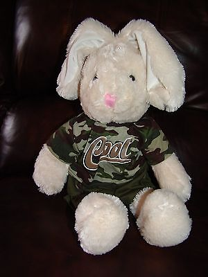 Dan Dee Collector's Choice Creamy White Bunny Rabbit w/ Camo Outfit Plush Doll