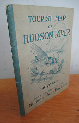 1923 Tourist Map of HUDSON RIVER Along Hudson River Day Line Route