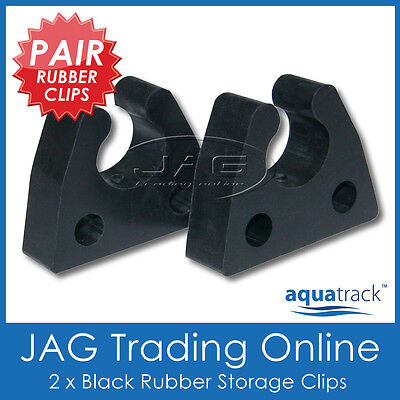 2 x RUBBER STORAGE CLIPS - Gaff/Net/Boat Hook/Paddle/Oar/Stern Anchor Light/Tube